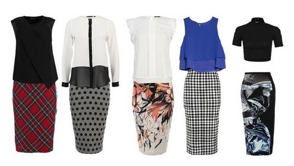 Современный деловой стиль одежды для женщин. Яркая юбка-карандаш