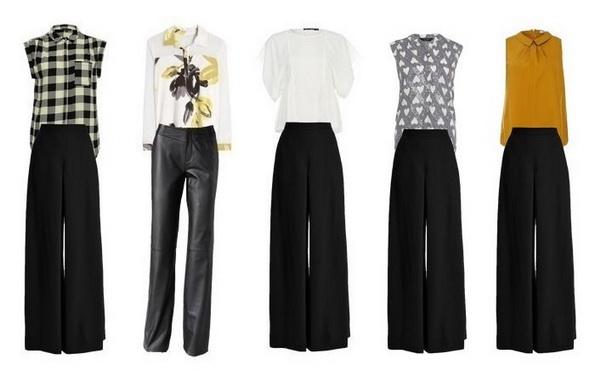 Современный деловой стиль одежды для женщин. Широкие черные брюки
