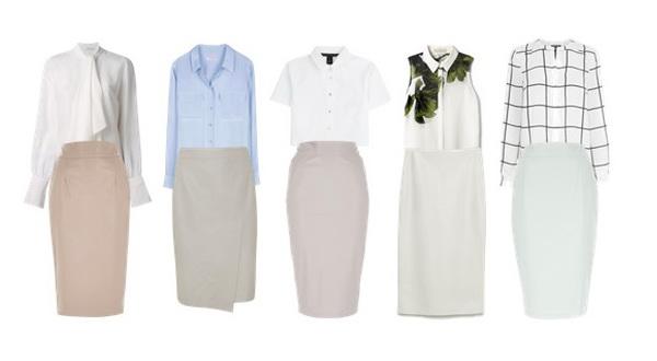 Современный деловой стиль одежды для женщин. Кожаная юбка-карандаш