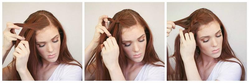 Французская боковая коса. Шаги 1-3