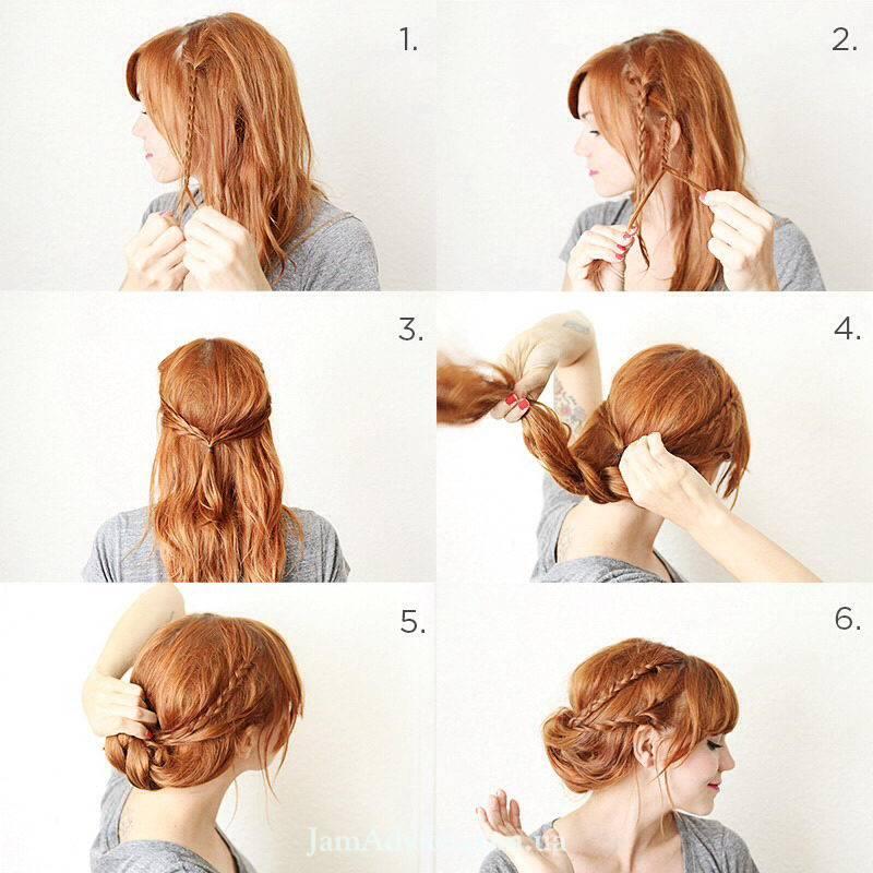 Прически на длинные волосы: Плетеный шиньон