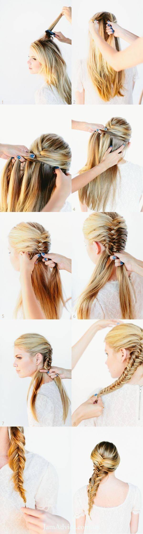 Прически на длинные волосы: Коса рыбий хвост