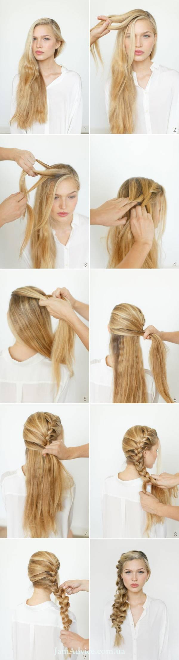Прически на длинные волосы: Романтичная боковая коса