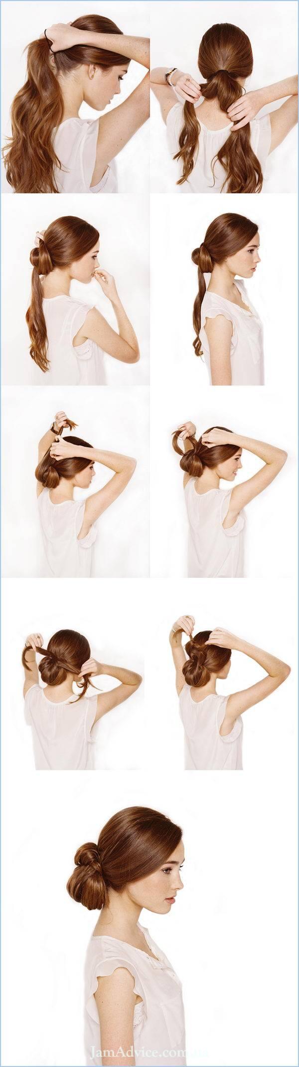 Прически на длинные волосы: Завязанный шиньон