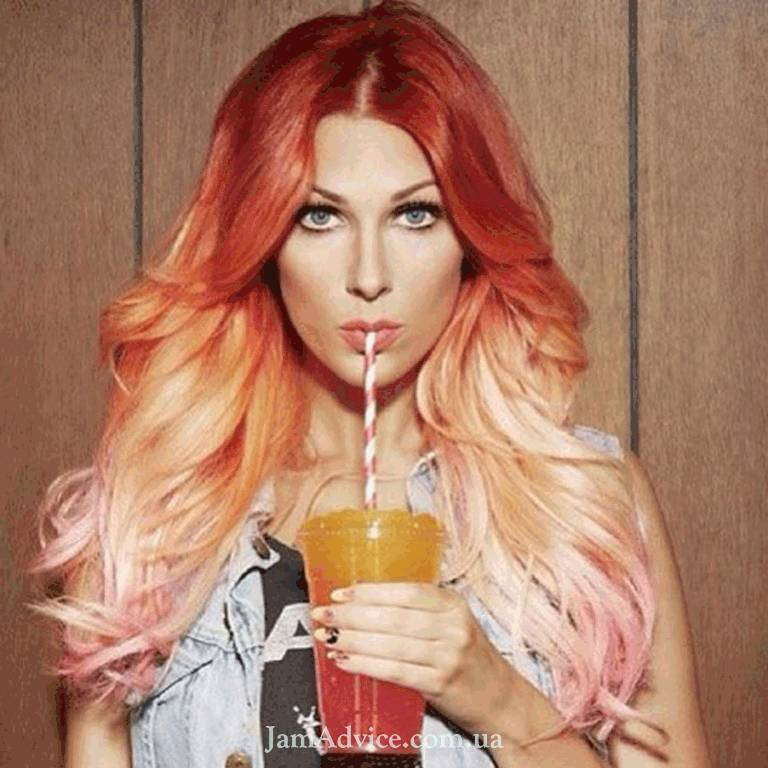 Омбре на красных волосах