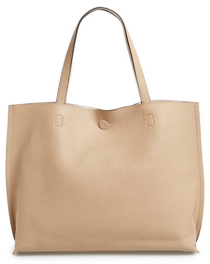 Street Level Reversible Faux Leather Tote & Wristlet in Taupe & Pale Pink, $48