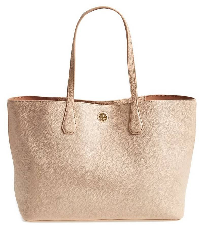 Tory Burch Perry Leather Tote in Light Oak, $395