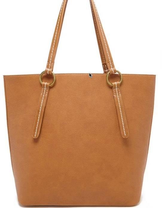 Pebbled Faux Leather Tote in Tan, $28
