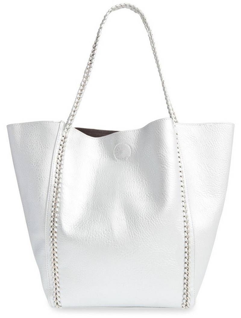 Phase 3 Chain Faux Leather Tote in Silver, $98