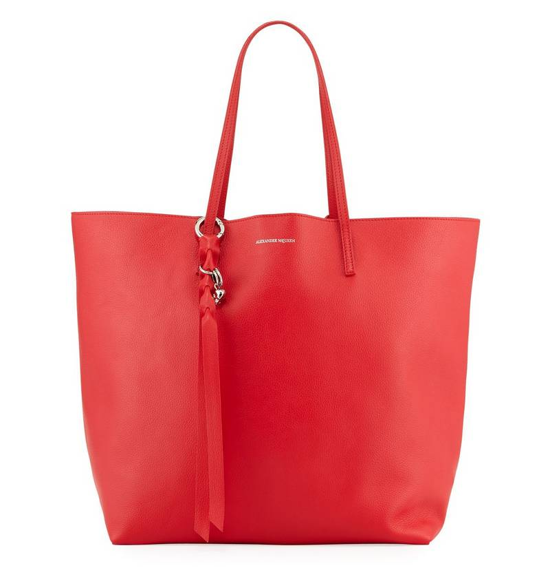 Alexander McQueen Skull Open Leather Shopper Tote Bag, $995