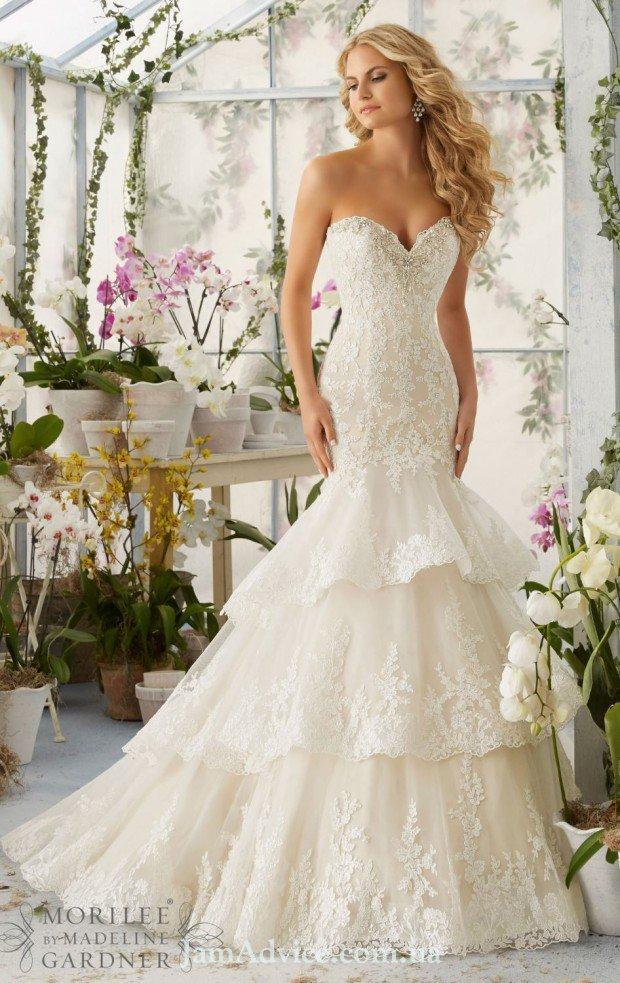 Силуэтное свадебное платье 2021