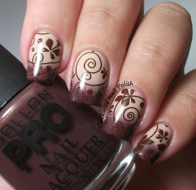 Красивые рисунки на ногтях в коричневых тонах
