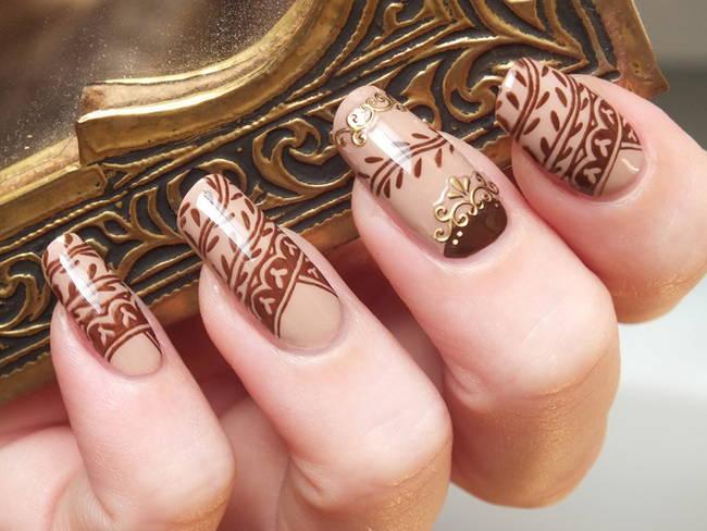 Красивые рисунки на длинные ногти в коричневом цвете