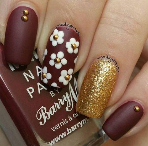 Красивый дизайн ногтей коричневый с золотом