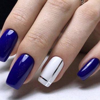 Синий маникюр 2020: 160 лучших идей дизайна ногтей