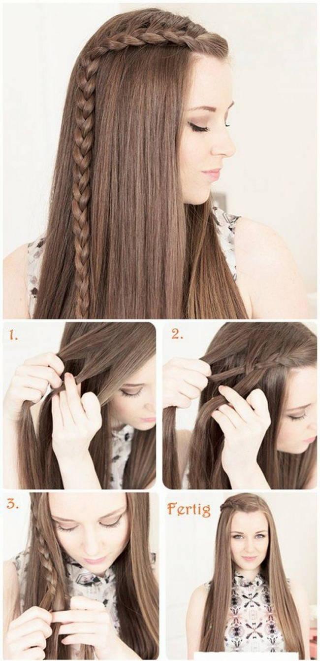 Причёски на средние распущенные волосы на каждый день своими руками фото 593