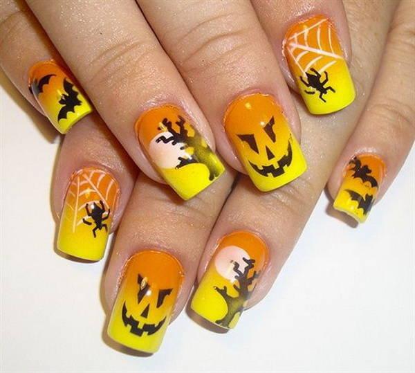 Маникюр для Хэллоуина с пауками и паутиной