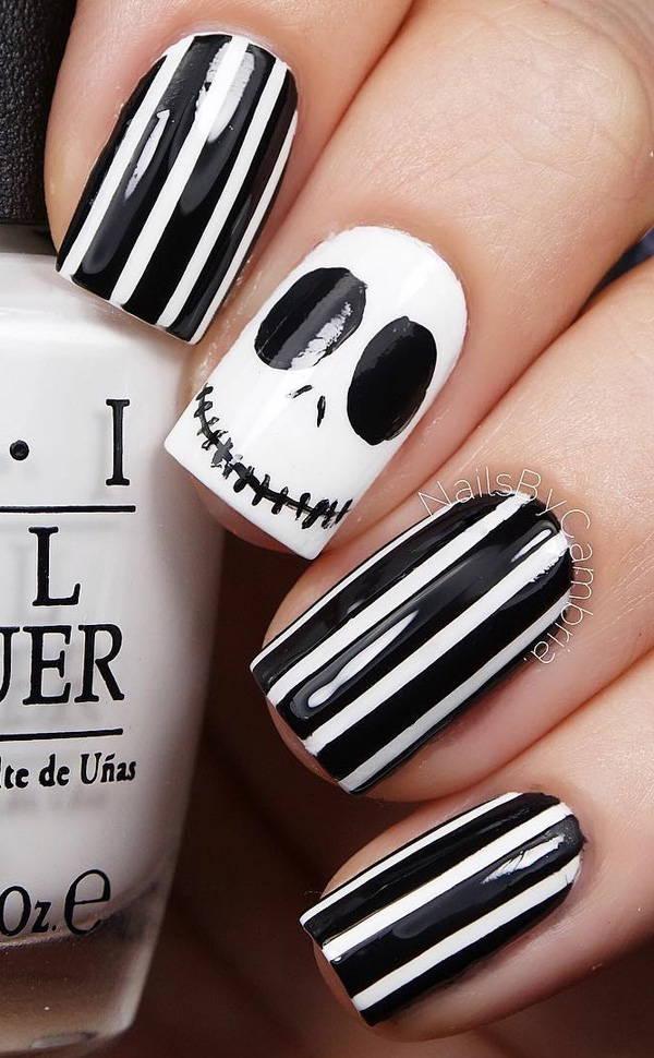 Маникюр на короткие ногти на Хэллоуин