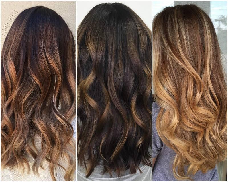 Карамельный балаяж на тёмные волосы (20 фото модного окрашивания волос)