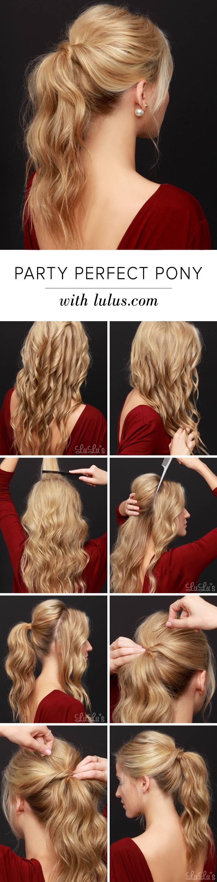 Красивая прическа на средние волосы: Конский хвостик