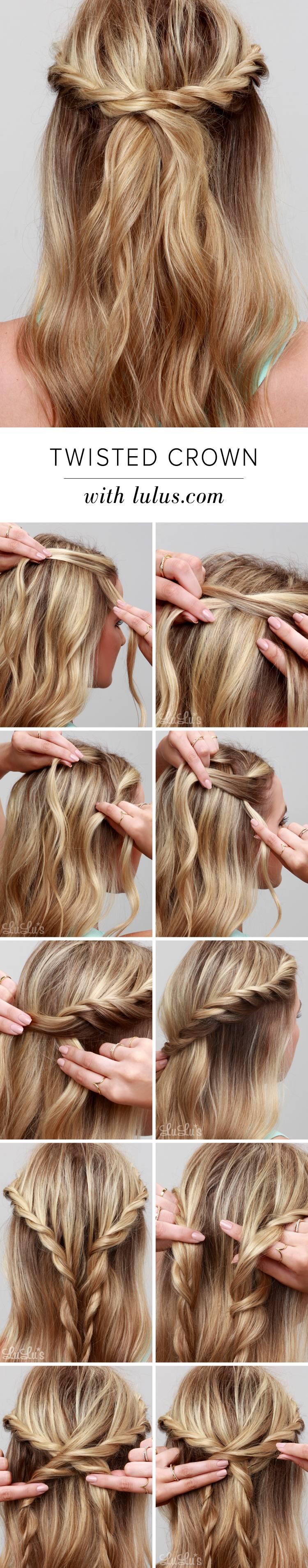 Красивые прически на средние волосы: Коса-корона