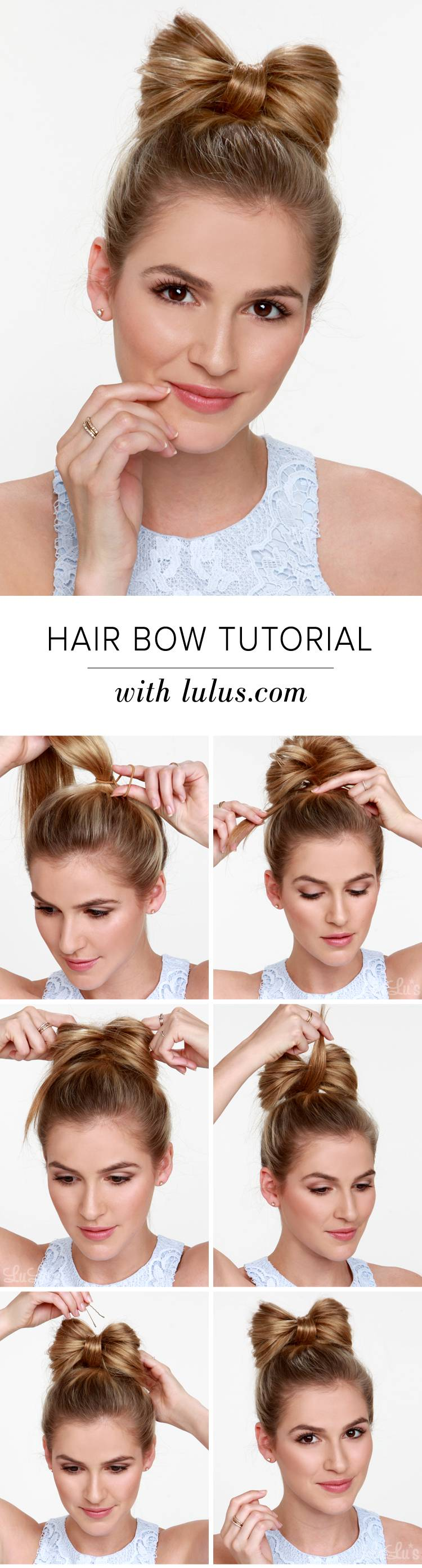 Красивые прически на средние волосы: Бантик из волос