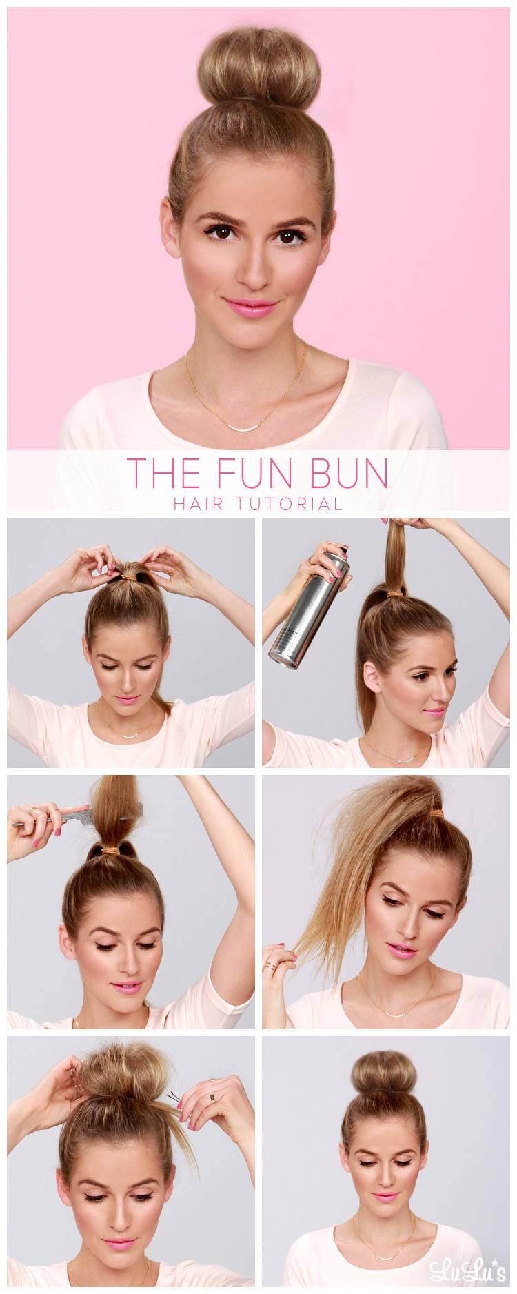Красивые прически на средние волосы: Пучок балерины