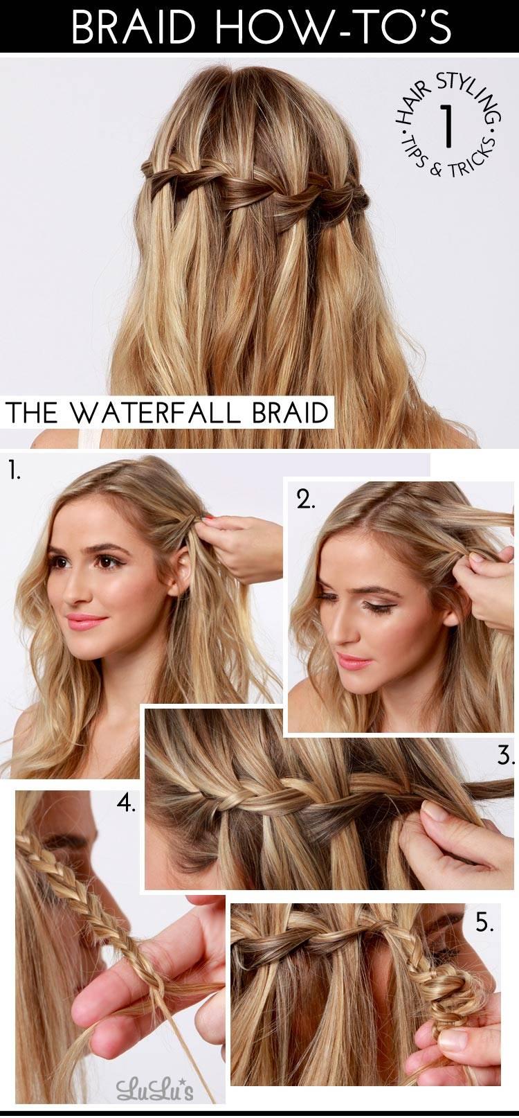 Красивые прически на средние волосы: Коса-водопад
