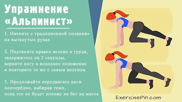 Усложнённый вариант планки – упражнение «Альпинист» (Mountain Climbers). Упражнение для ног