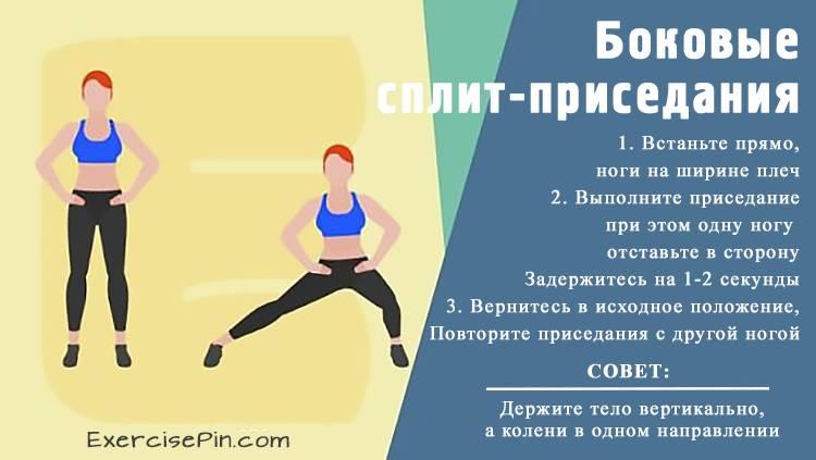 Эффективные упражнения для ягодиц и ног - Боковые сплит-приседания. Упражнение для бедер