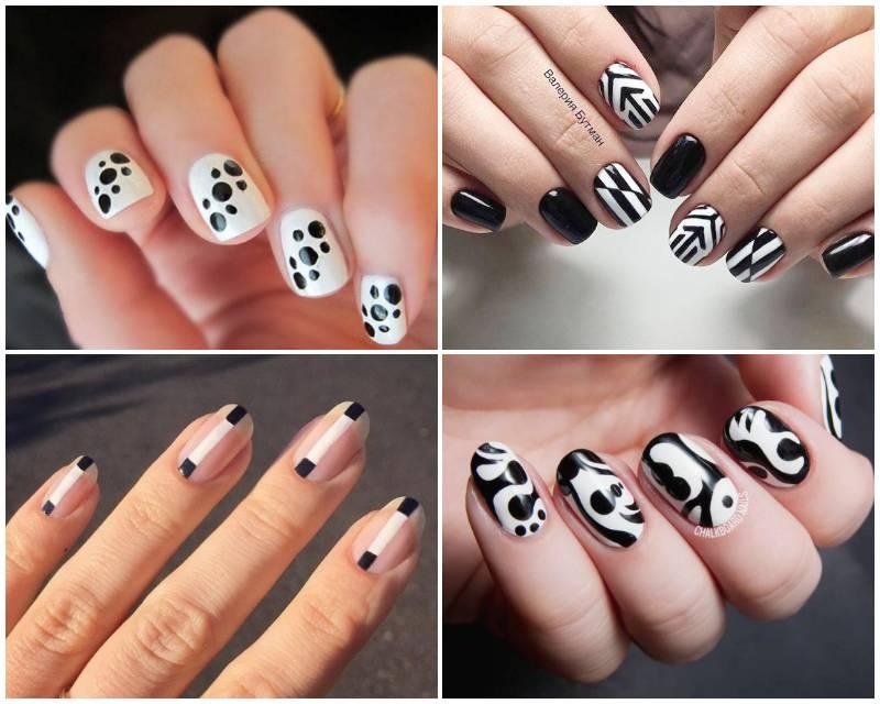 Черно-белый маникюр 2020-2021: Оригинальные идеи дизайна ногтей