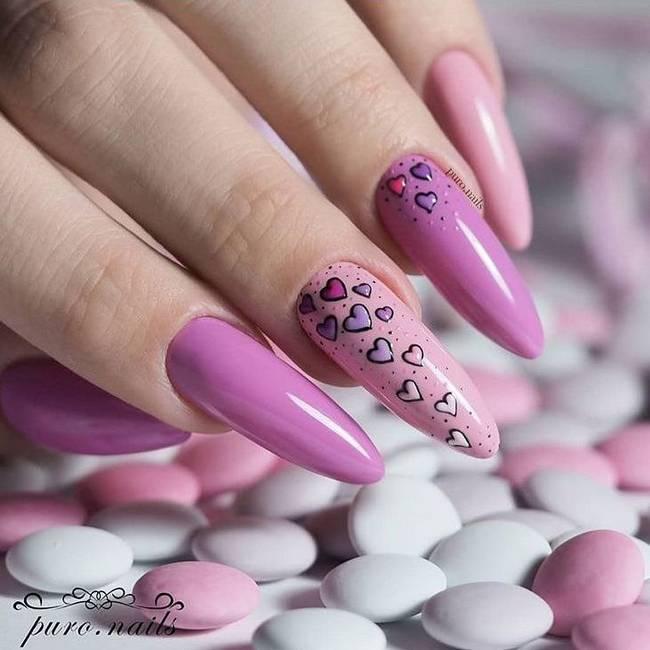 Примеры розового маникюра на длинные ногти