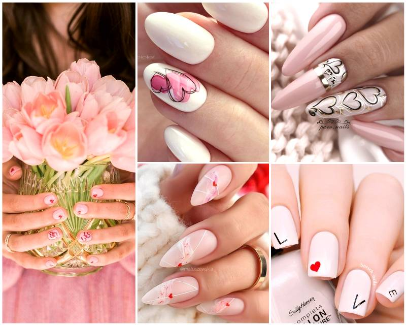 Праздничный Маникюр на День святого Валентина - сердечки на ногтях