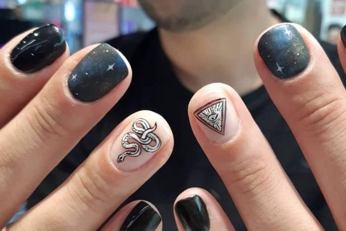 Акцент на одном ногте в маникюре для мужчин