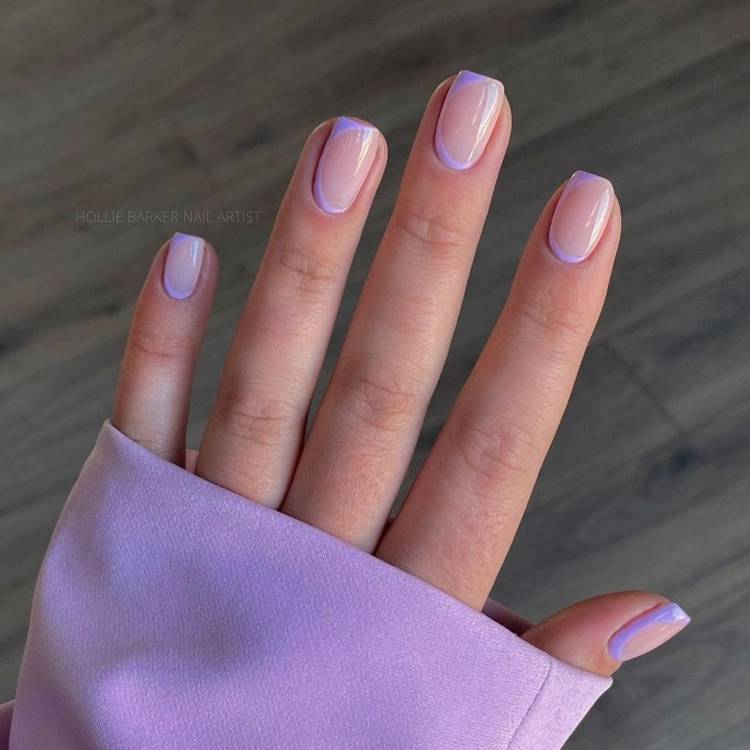 Весенний френч на коротких ногтях